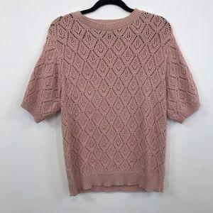 Alfred Dunner   Blush Pink Knit Geometric Sweater
